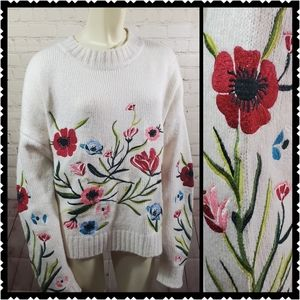 Romeo + Juliet embroidered sweater floral large